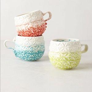 Anthropologie handpainted marshmallow mug